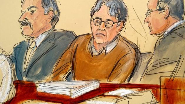 So fing der Gerichtszeichner den selbsternannten Prozess Keith Raniere während des Prozesses ein. (Bild: AP)