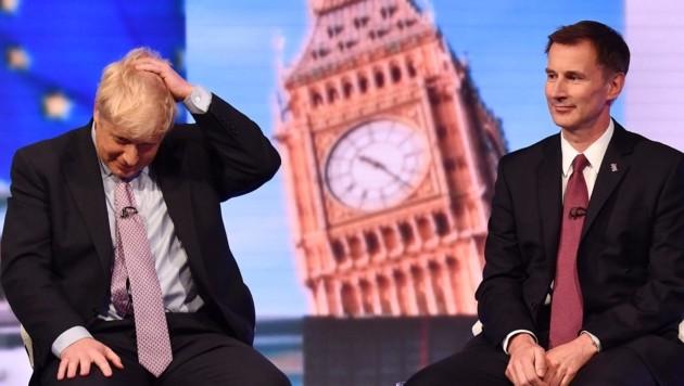 Boris Johnson oder Jeremy Hunt: Im Rennen um die Nachfolge von Theresa May bleiben nur noch ein Ex-Außenminister und der aktuelle Außenminister übrig. (Bild: APA/AFP/BBC/JEFF OVERS)