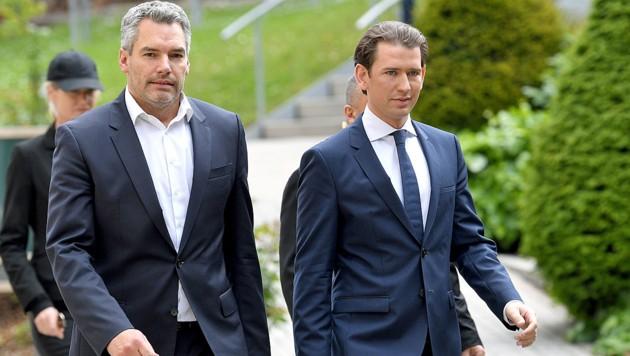 ÖVP-Generalsekretär Karl Nehammer (li.) und ÖVP-Chef Sebastian Kurz (Bild: APA/ROLAND SCHLAGER)
