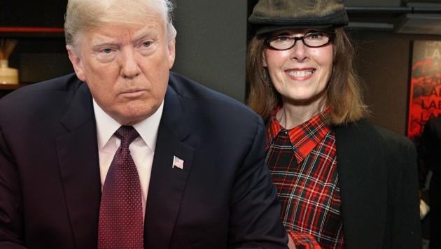"""Die """"Elle""""-Kolumnistin Elizabeth Jean Carroll behauptet in ihrem Buch, US-Präsident Donald Trump habe sie Mitte der 90er-Jahre zum Sex zwingen wollen. Trump spricht von """"Fiktion"""". (Bild: AFP, krone.at-Grafik)"""