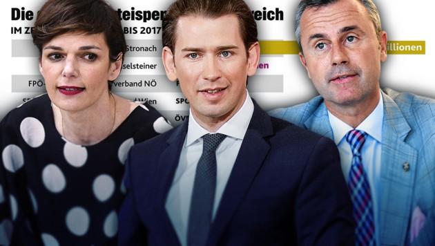 "SPÖ-Chefin Pamela Rendi-Wagner, ÖVP-Chef Sebastian Kurz, FPÖ-Chef Norbert Hofer (Bild: APA/HANS PUNZ, Peter Tomschi, APA/BKA/ANDY WENZEL,""Krone""-Grafik)"