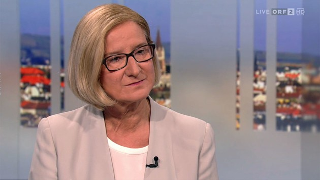"Landeshauptfrau Johann Mikl-Leitner in der ORF-""Pressestunde"" (Bild: tvthek.orf.at)"