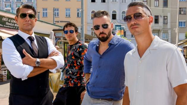 "Im Bild (v.li.): Wolfgang ""Fifi"" Pissecker, Laurence Rupp, Murathan Muslu, Faris Endris Rahoma (Bild: ORF)"
