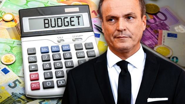 Sein Appell zur Sparsamkeit blieb ungehört: Finanzminister Eduard Müller (Bild: EPA, stock.adobe.com, krone.at-Grafik)