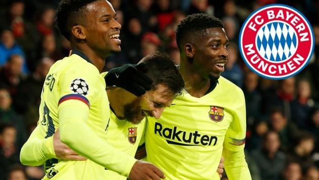 Ousmane Dembele (re.) jubelt mit Superstar Lionel Messi (Mitte) - und das auch wohl noch länger. (Bild: GEPA, Bayern München)