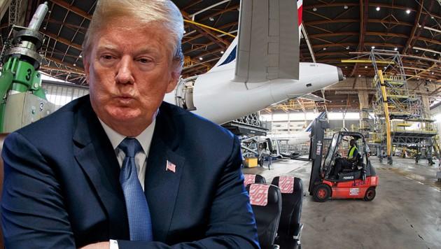 Im jahrelangen Flugzeug-Streit mit der EU will US-Präsident Donald Trump nun Nägel mit Köpfen machen. (Bild: APA/AFP/JOEL SAGET, AP, krone.at-Grafik)
