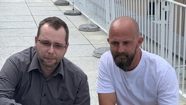 Ex-Mitarbeiter Oliver und Manuel (Bild: Salzmann Sabine/Kronenzeitung)