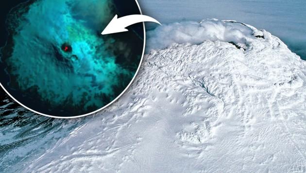 (Bild: NASA/Landsat, British Antarctic Survey/Pete Bucktrout, krone.at-Grafik)