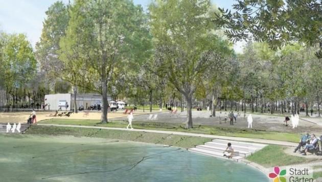Am Teich entstehen an drei Stellen Sitzstufen. (Bild: Stadt Salzburg)