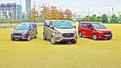 Die Ford Tourneo Modelle Courier, Custom & Connect (v.l.n.r.) (Bild: mmotors.at)