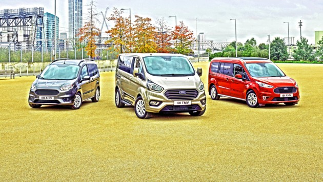 Die Ford Tourneo Modelle Courier, Custom & Connect (v.l.n.r.) (Bild: mmotors.at)