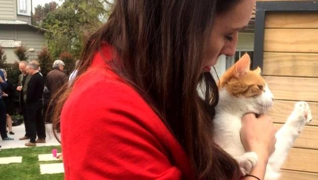 Jacinda Ardern mit ihrer Katze Paddles (Bild: twitter.com/NZStuff)