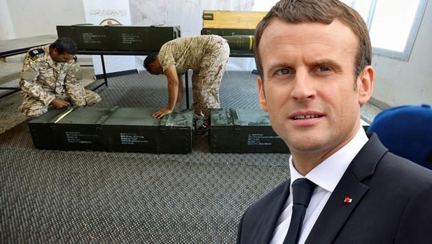 Frankreichs Präsident ist wegen französischer Waffen in den Händen der Truppen von General Haftar in Erklärungsnot. (Bild: AP, AFP, krone.at-Grafik)
