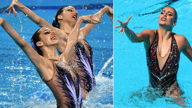 Eirini und Anna Maria Alexandri (li.) mischen im Duett in der Weltspitze mit, Schwester Vasiliki (re.) schwimmt Solo. (Bild: GEPA, AFP/FERENCISZA)