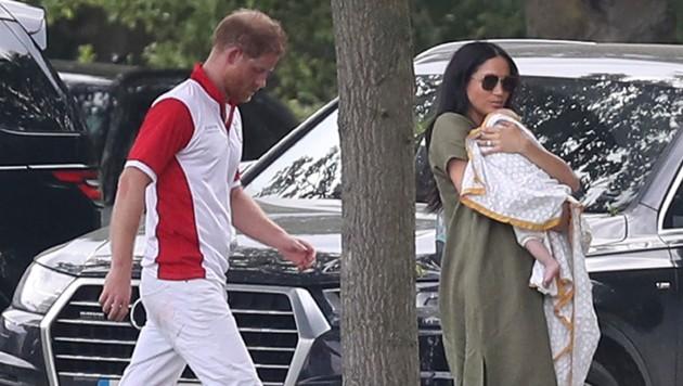 Der erste Familienausflug: Prinz Harry mit Gattin Meghan und Söhnchen Archie (Bild: AP)