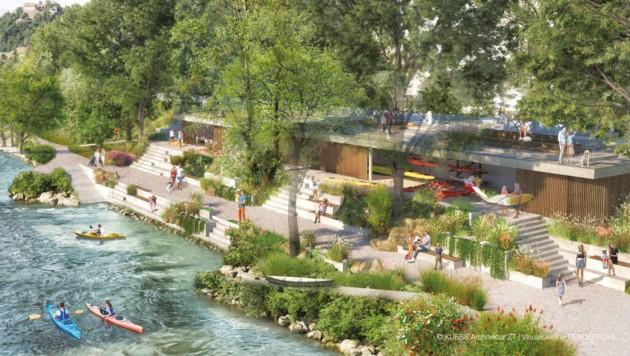 So soll das neue Stadtbootshaus an der Mur in Graz aussehen (Bild: Kuess Architektur ZT/Renderpohl)