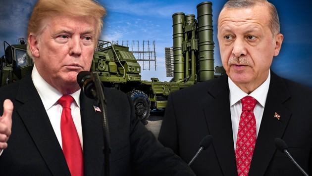 US-Präsident Donald Trump hat den türkischen Staatschef Recep Tayyip Erdogan wiederholt davor gewarnt, in Rüstungsfragen mit Russland zu kooperieren. (Bild: AP, APA/AFP/Alexander NEMENOV, APA/AFP/Charly TRIBALLEAU, krone.at-Grafik)