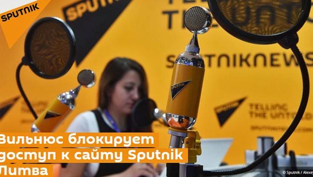 """Auf der Nachrichtenseite von Sputnik Litauen war die Sperre auch großes Thema. """"Vilnius blockiert den Zugang zum Standort von Sputnik in Litauen"""", titelte die Redaktion."""