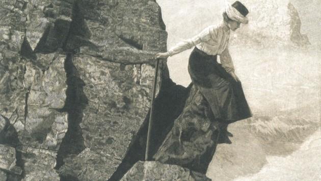 Nicht nur die Bergwelt haben mutige Frauen mühsam erobert. (Bild: Stahlstich nach Theodor Wundt/Sammlung Arnaldo Loner)