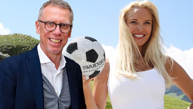 Peter Stöger und WSG-Tirol-Chefin Diana Langes (Bild: GEPA)