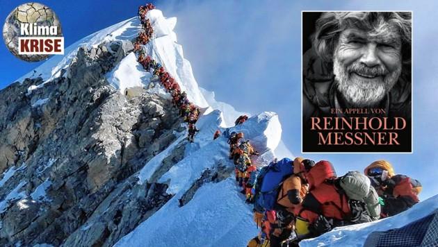 Der Bergsteiger-Stau auf dem Dach der Erde sorgte weltweit für großes Entsetzen. In seinem neuen Buch zeigt Reinhold Messner die alpinen Umweltsünden auf. (Bild: Nirmal Purja, beneventobooks.com)