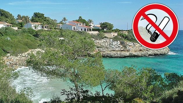"""Die Buch Cala Anguila (""""Aalbucht"""") im Osten der spanischen Baleareninsel Mallorca wird bald rauchfrei. (Bild: Wikipedia, stock.adobe.com, krone.at-Grafik)"""