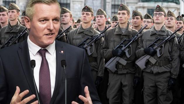 Konnte sein Versprechen nicht einlösen: Ex-Verteidigungsminister Kunasek (FPÖ) (Bild: GEORG HOCHMUTH, APA/BUNDESHEER/GUNTER PUSCH, krone.at-Grafik)