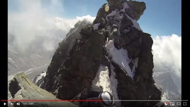 Ein YouTube-Video das die Glocknerscharte aus der Sicht eines Bergsteigers zeigt (Bild: YouTube.com)