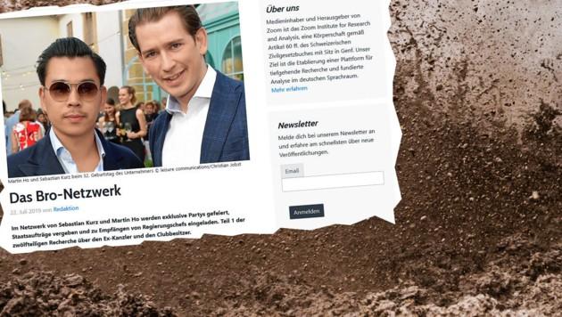 Die Website nahm Kurz und einen Wiener Unternehmer ins Visier. (Bild: stock.adobe.com; krone.at-Grafik)