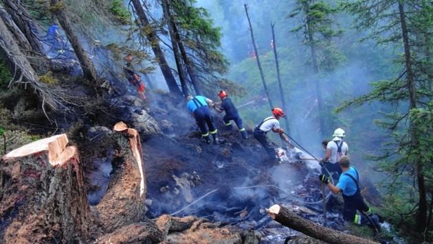 40 Personen der Feuerwehren Gröbming, Gröbming-Winkl und Oblärn waren am Dienstag im Waldbrandeinsatz auf der Brandalm (Bild: BFV Liezen/Schlüßlmayr)
