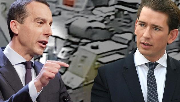 Der ehemalige SPÖ-Bundeskanzler Christian Kern widerspricht seinem Nachfolger Sebastian Kurz (ÖVP). (Bild: APA/GEORG HOCHMUTH, APA/HELMUTH FOHRINGER, YouTube)