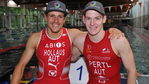 Der Niedernsiller Lukas Hollaus (li.) freute sich mit seinem Teamkollegen Lukas Pertl. (Bild: LAUXFOTO-SALZBURG)