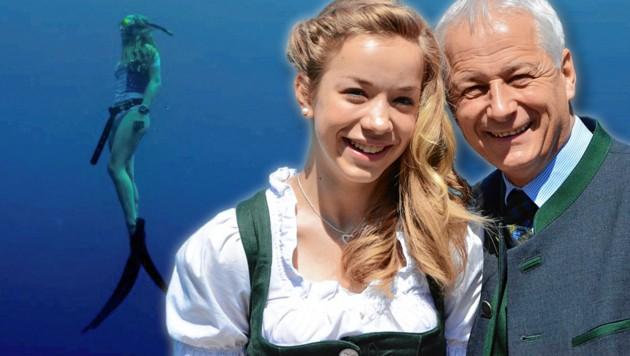 Verena H. und ihr Vater zu Hause vor dem Wolfgangsee (Bild: zVg)