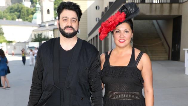 Die Opernsänger Yusif Eyvazov und Anna Netrebko nach einer Probe im Großen Festspielhaus (Bild: APA/FRANZ NEUMAYR)