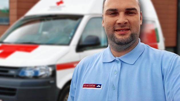 Busfahrer Gabriel Stingu wurde zum Lebensretter. (Bild: zVg, ÖRK, krone.at-Grafik)