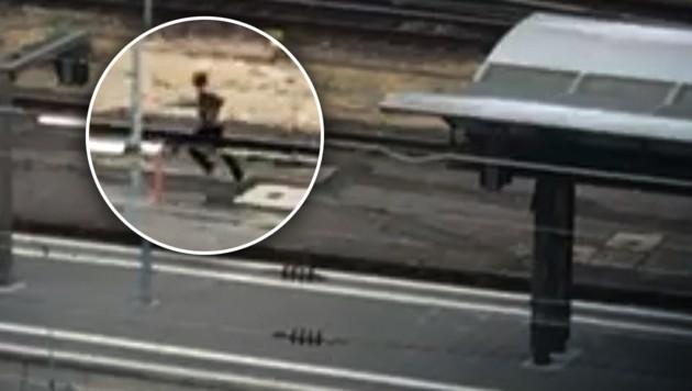"""Nach der Horror-Tat am Frankfurter Hauptbahnhof versuchte der Täter (40) zu flüchten. (Bild: """"Bild"""", krone.at-Grafik)"""
