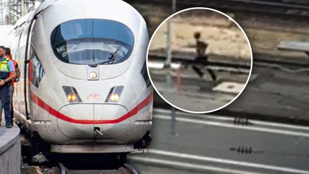 """Nach der Horror-Tat am Frankfurter Hauptbahnhof im Juli 2019 versuchte der Täter (40) zu flüchten. (Bild: APA/dpa/Frank Rumpenhorst, """"Bild"""", krone.at-Grafik)"""
