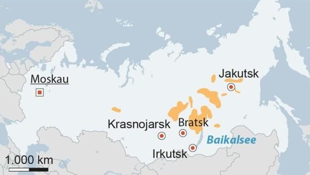 Waldbrände in Sibirien: Mehr als 30.000 km2 Wald wurden bereits vernichtet (Fläche von Niederösterreich und Oberösterreich gesamt 31.166 km2) (Bild: APA)