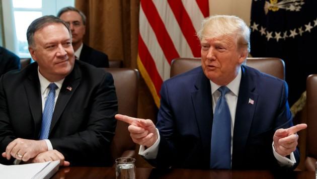 US-Präsident Trump und sein Außenminister Mike Pompeo (Bild: AP)