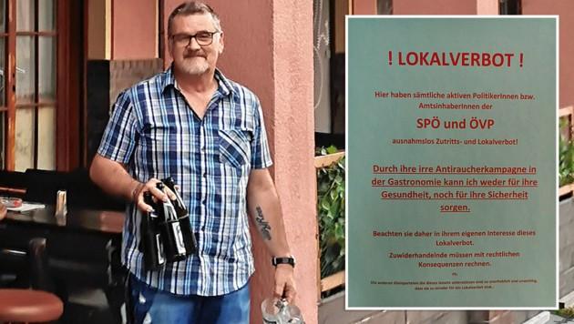 Sämtliche aktive Politiker der SPÖ und der ÖVP haben bei Fritz Walzer Lokalverbot. (Bild: Zwefo, krone.at-Grafik)