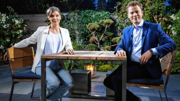 """Maria Stern im ORF-""""Sommergespräch"""" mit Tobias Pötzelsberger (Bild: APA/GEORG HOCHMUTH)"""