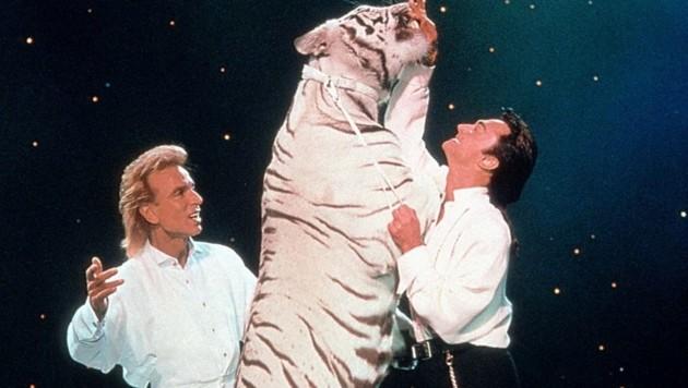 Das Duo Siegfried und Roy bei einem Auftritt mit einem weißen Tiger (Bild: dpa/dpaweb)