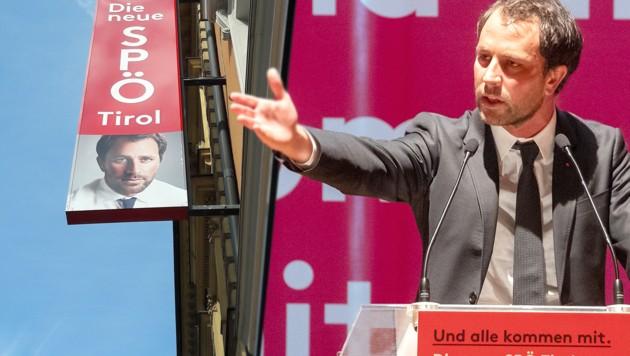 """Georg Dornauer wirbt für seine """"neue SPÖ"""". Seine Strategie gefällt aber nicht allen Parteifreunden. (Bild: APA/EXPA/JOHANN GRODER, APA/BRIGITTE FORSTER, krone.at-Grafik)"""