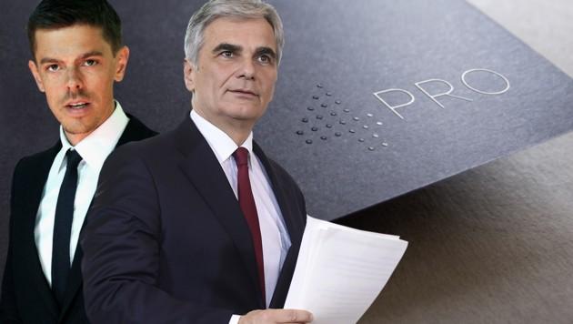 Geschäftspartner: Matthias Euler-Rolle und Werner Faymann (Bild: 4Pro, APA/HERBERT PFARRHOFER, APA/HELMUT FOHRINGER, krone.at-Grafik)