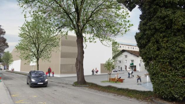 Das Braunauer Parkhaus im Entwurf: Jetzt steht auch die endgültige Fassade fest. Geplant sind Alu-Lamellen, gestockte Wandflächen sowie begrünte Dach- und Wandflächen. (Bild: Stadtgemeinde Braunau)