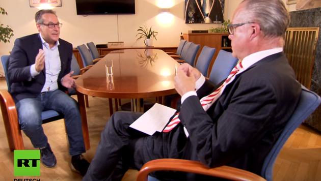 Heinz-Christian Strache im Gespräch mit Thomas Fasbender (Bild: RT Screenshot)