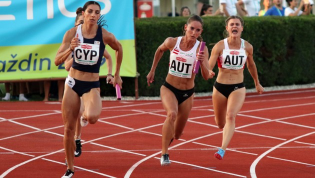 Sprinterin Steffi Bendrat (M.) lief mit der österreichischen 4x100 Meter-Staffel bei der Team-EM in Varazdin (Kro) auf Rang vier. (Bild: ÖLV)