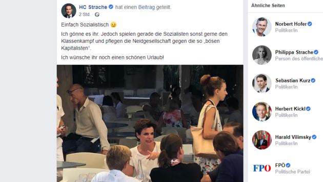 Heinz-Christian Strache verbreitete den Schnappschuss auf Facebook. (Bild: facebook.com/HCStrache (Screenshot))