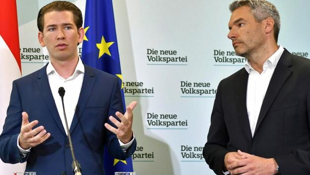 Sebastian Kurz, Karl Nehammer (Bild: APA/HERBERT NEUBAUER)