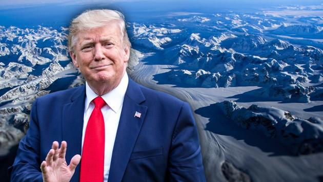 US-Präsident Donald Trump hat mit Beratern und Mitarbeitern über einen Kauf von Grönland durch die Vereinigten Staaten gesprochen. (Bild: JOHN SONNTAG/NASA/AFP, AFP, krone.at-Grafik)
